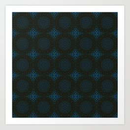Classic Blue and Bown Tiled Kaleidoscope Pattern Art Print