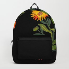 Calendula Officinalis Mary Delany Floral Paper Collage Delicate Vintage Flowers Backpack