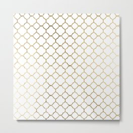 Elegant stylish white faux gold quatrefoil Metal Print