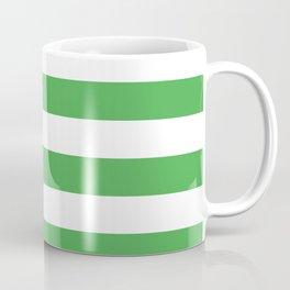 Even Horizontal Stripes, Green and White, L Coffee Mug