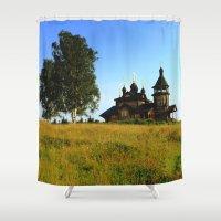 russia Shower Curtains featuring Wooden Church, Merkushino, Russia by Svetlana Korneliuk