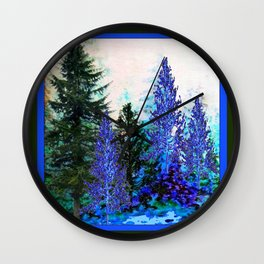 BLUE-GREEN MOUNTAIN FOREST LANDSCAPE Wall Clock