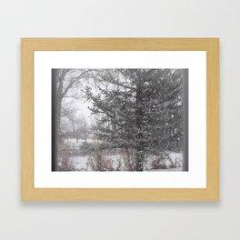 Soft snow falling Framed Art Print