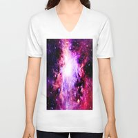 nebula V-neck T-shirts featuring Orion NebuLa. Purple Fuchsia Galaxy by 2sweet4words Designs