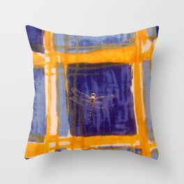 Dragonfly on Quilt Throw Pillow