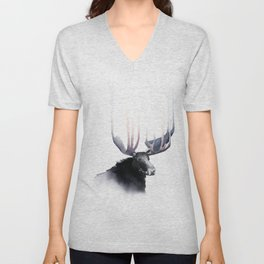Moose in Watercolor - Elk Decor- King of the Forest Unisex V-Neck
