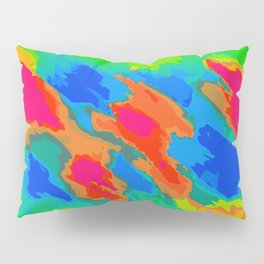blue red orange and green painting abstract background Pillow Sham