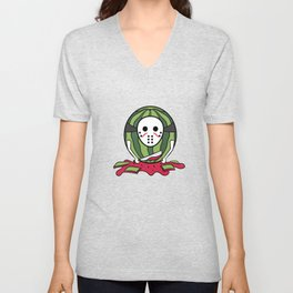 """Masked Watermelon"" tee design. Makes a nice tee gift to your friends and family!  Unisex V-Neck"