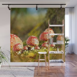 Beautiful but toxic - Fly agaric - Amanita - Autumn illustration - #society6 #buyart Wall Mural