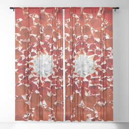 Red and White Spiral Fractal Art Low Poly Geometric Triangles Sheer Curtain