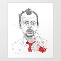 shaun of the dead Art Prints featuring Shaun of the Dead by Andy Christofi