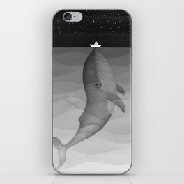 Black and white, whale, paper boat iPhone Skin