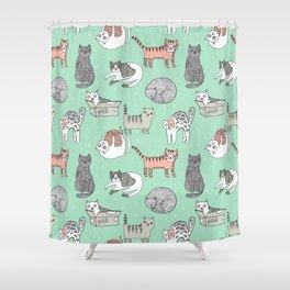 Cat pattern cute nursery cat lady kittens by andrea lauren Shower Curtain