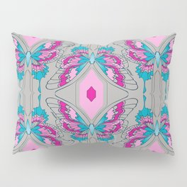 Deco Butterfly Pink & Gray Pillow Sham