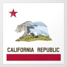 California Republic Landscape Flag Art Print