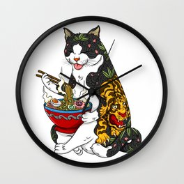 Cat eating Chinese Noodles with Tiger Tattoo Wall Clock