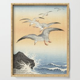 Japanese Seagull Woodblock Print by Ohara Koson Serving Tray
