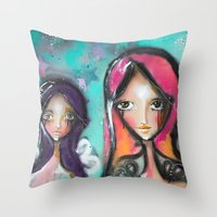 angels Throw Pillows featuring angels by SannArt