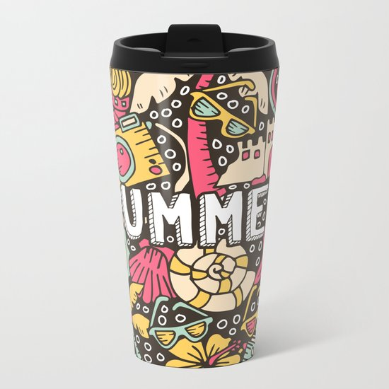 Summer Doodle Metal Travel Mug