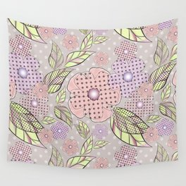 Flowers in polka dots. Wall Tapestry