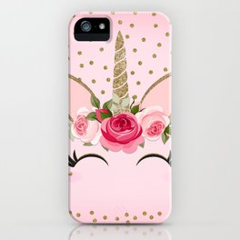 Pink & Gold Floral Unicorn Face iPhone Case
