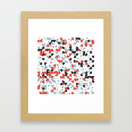 The accent color - Random pixel pattern in red white and blue Framed Art Print