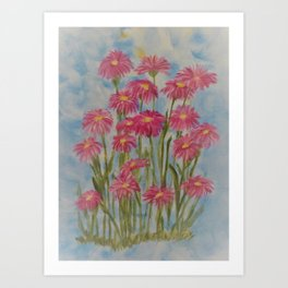Asters Acrylic Floral Painting by Rosie Foshee for wall decor, and to share by stationary & stickers Art Print