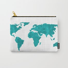 Turquoise Metallic Foil World Map Carry-All Pouch