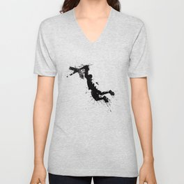 Basketball player dunking in ink Unisex V-Neck