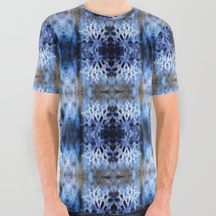 snowflake in blue 8 pattern All Over Graphic Tee
