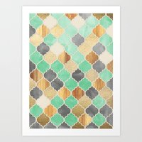 bedding Art Prints featuring Charcoal, Mint, Wood & Gold Moroccan Pattern by micklyn