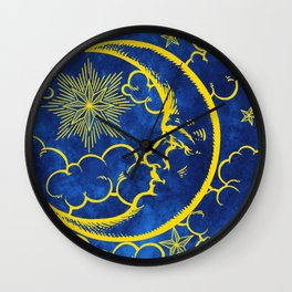 Moon vintage yellow Wall Clock