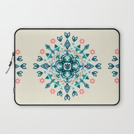 Watercolor Lotus Mandala in Teal & Salmon Pink Laptop Sleeve