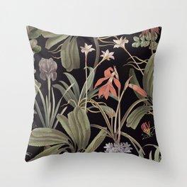 Dark Botanical Stravaganza Throw Pillow