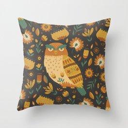 Autumn Folk Art Owl Throw Pillow