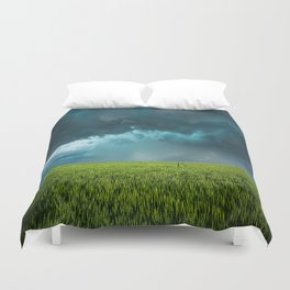 April Showers - Colorful Stormy Sky Over Lush Field in Kansas Duvet Cover
