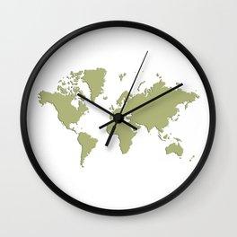 World with no Borders - sage Wall Clock