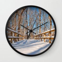 Susquehanna Winter Forest Bridge Wall Clock