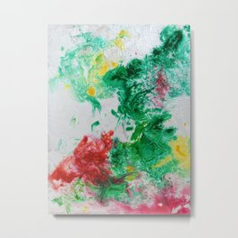Spring Florals #2 - Emerald Green, Pink and Yellow Abstract Print Metal Print