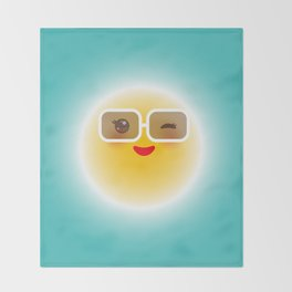 Kawaii funny sun with sunglasses pink cheeks and wink at eyes Throw Blanket