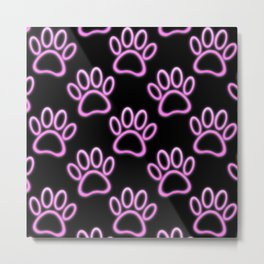 Pink Neon Dog Paw Print Metal Print