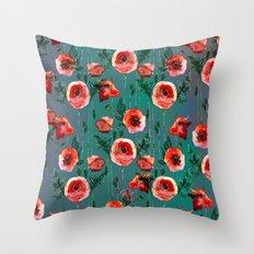 Dark Poppy Floral Throw Pillow