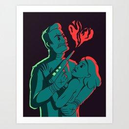 Laser gun love Art Print