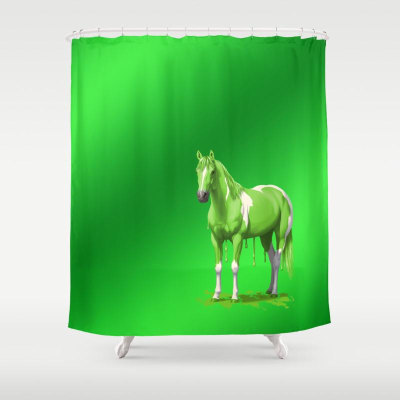Neon Green Wet Paint Horse Shower Curtain