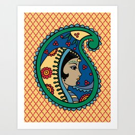 Rainbow Paisley Lady Moroccan Quatrefiol Art Print
