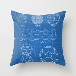 Soccer Ball Patent - Football Art - Blueprint Throw Pillow