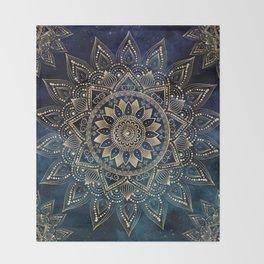 Elegant Gold Mandala Blue Galaxy Design Throw Blanket
