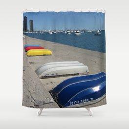 Chicago Shoreline, Skyline, Boats Shower Curtain