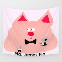 pig Wall Tapestries featuring Pig. James Pig. by V.L. Durand
