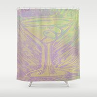 martini Shower Curtains featuring purple martini by Kim Codner Designs